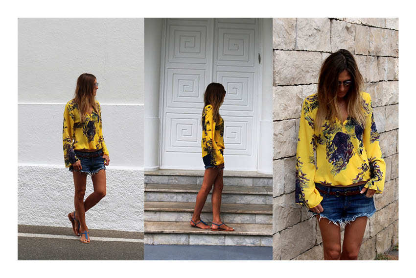 Yellow blouse and denim short