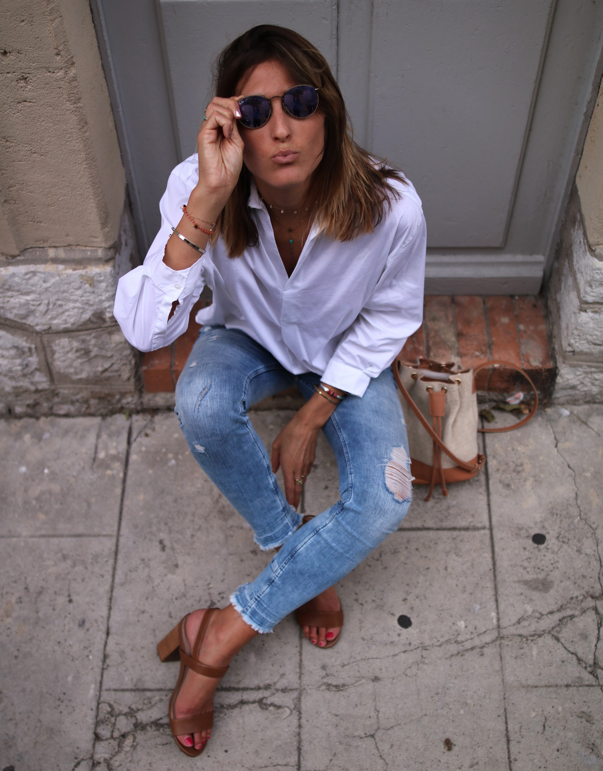 classy look denim and white shirt