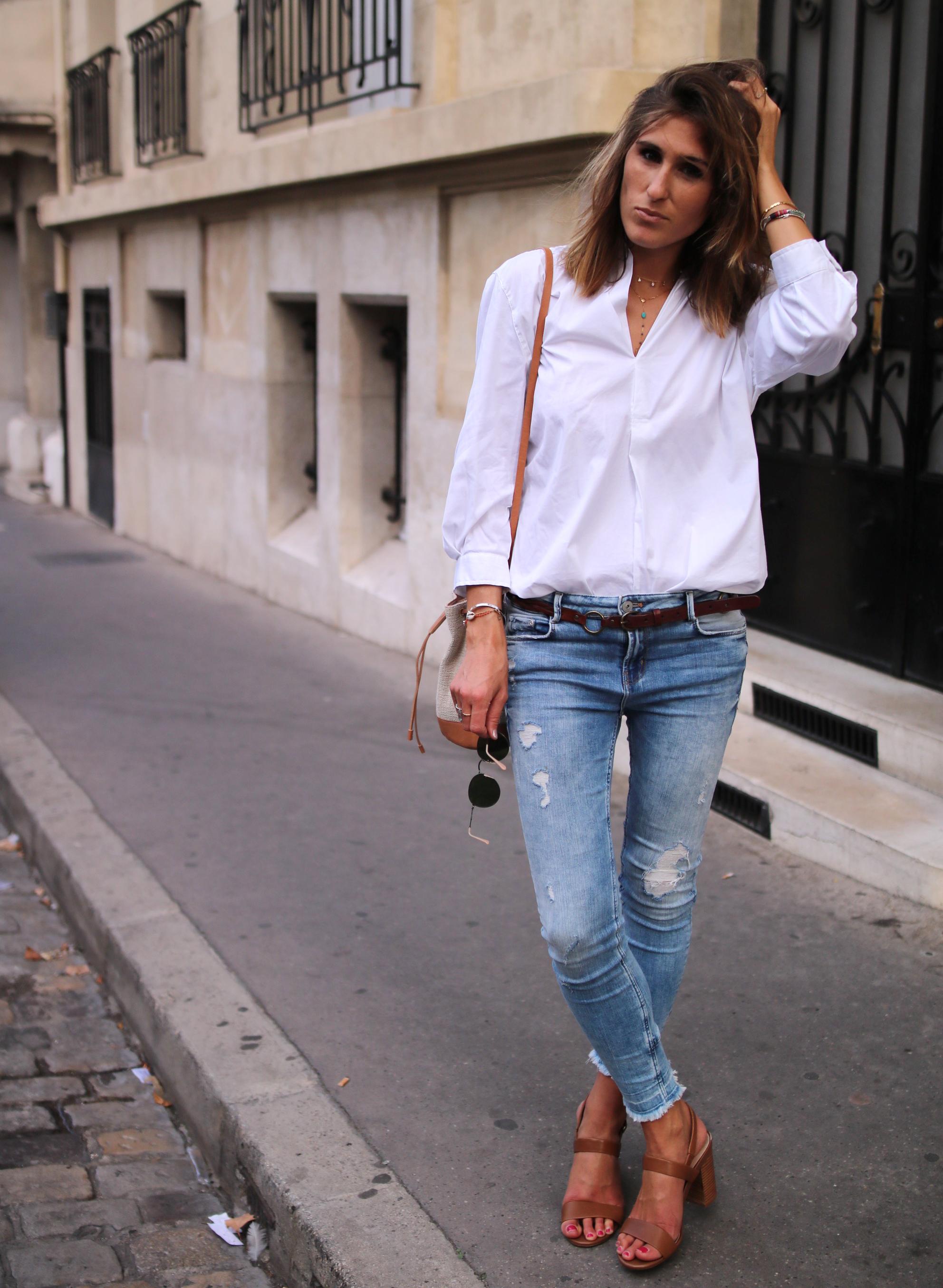 classy look denim and white shirt