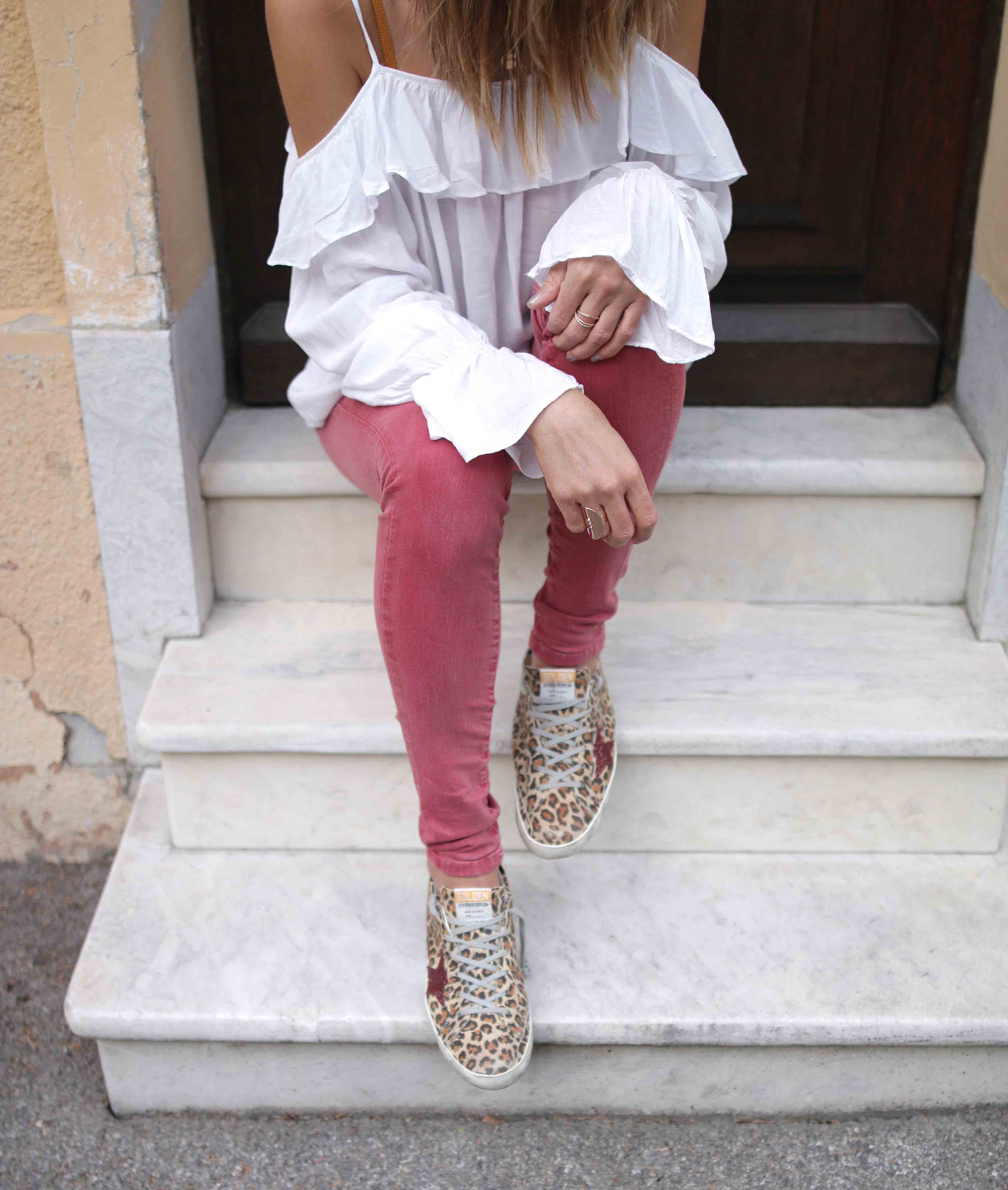 Sneakers Superstar Leopard Suede Red Glitter Star
