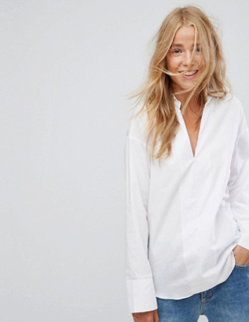 Pull&Bear - Chemise à manches longues - Blanc