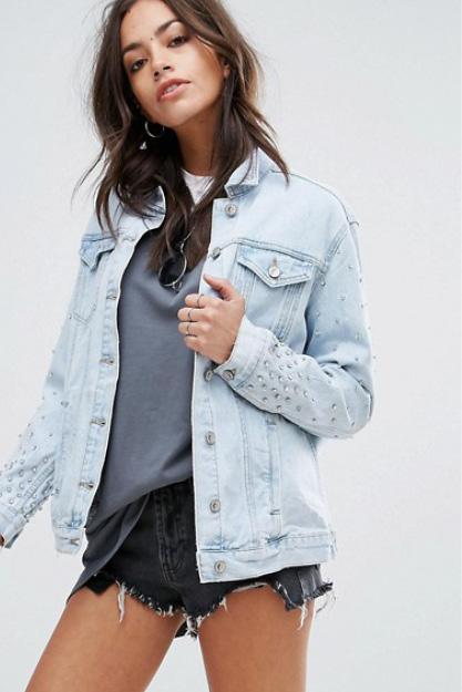 NEW LOOK BLING veste jeans délavé style 80