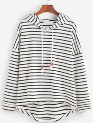 Sweat-Shirt À Rayure Avec Capuche - Noir Et Blanc