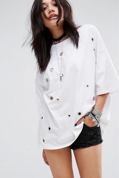 glamorous t-shirt oversize avec oeillets
