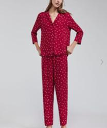 pyjama rouge coeurs oysho