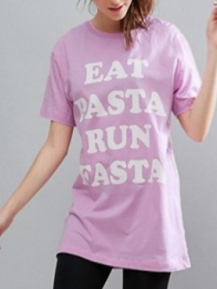 Twerk Out - Eat Pasta Run Fasta - T-shirt oversize - Lilas