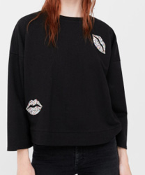 Sweat-shirt coton cristaux mango