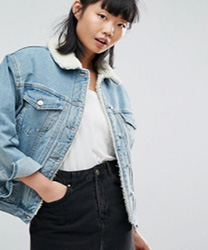 veste en jean fouree asos