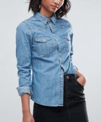 ASOS - Chemise western ajustée en jean à délavage moyen - Bleu