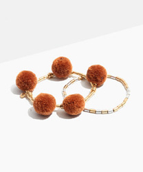 Two-Pack Beaded Pom-Pom Bracelets