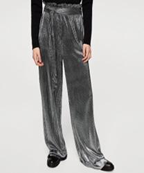 Pantalon plissé métallisé