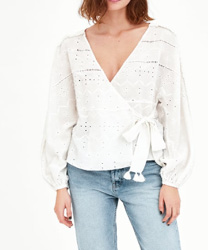 CROSSOVER TOP WITH CUTWORK EMBROIDERY