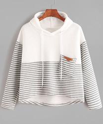 Sweat-Shirt Encapuchonné Bicolore Rayures Asymétrique Avec Cordon Avec Poche romwe