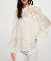Blouse semi-transparente lin