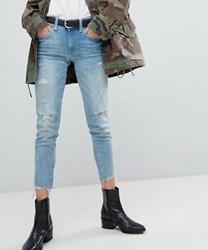 Polo Ralph Lauren - Jean skinny court déchiré - Bleu clair