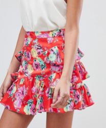 ASOS DESIGN - Mini-jupe en satin avec détail volanté et imprimé floral