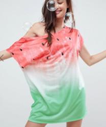 ASOS - Vêtement de plage fluide en jersey motif pastèque avec épaules dénudées