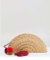 Glamorous - Pochette style éventail en paille avec pampilles