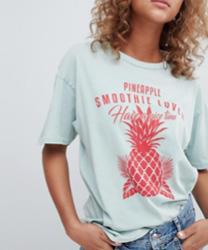 Pull&Bear - T-shirt motif ananas - Bleu ciel