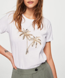 T-shirt broderies sequins palmiers mango