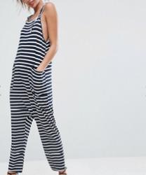 ASOS DESIGN - Combinaison minimaliste en jersey à rayures avec bretelles à nouer