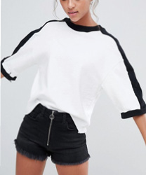 Bershka - T-shirt oversize à rayures contrastantes
