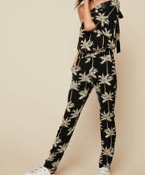 Ikks women Combi-pantalon asymétrique imprimé palmiers noire