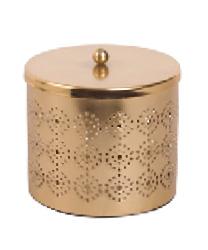SAHARA Boîte à bijoux ronde en métal doré ajouré