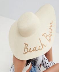 ASOS - Chapeau mou en paille avec slogan et ajusteur de taille