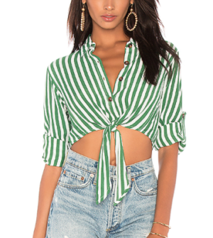 FAITHFULL THE BRAND BEAU RIVAGE TOP IN GREEN ZEUS STRIPE