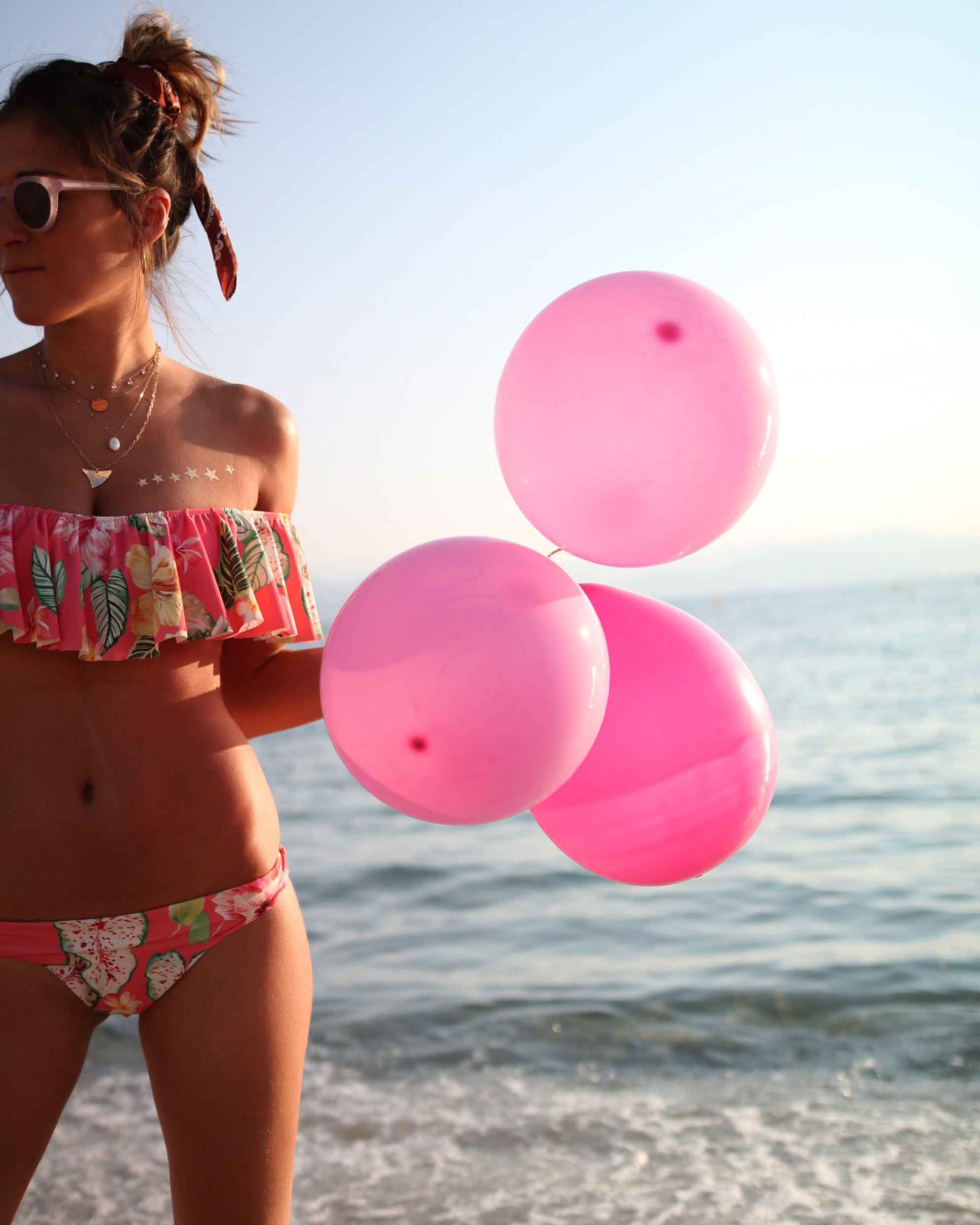 birthday girls, ruffle bikinis, mon petit bikini, bikini, pink baloons, beach life, bikini body, flash tattoos