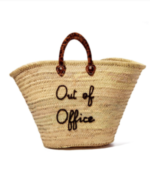 LARGE STRAW TOTE – OUT OF OFFICE poolside