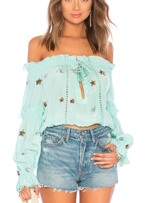 ROCOCO SAND X REVOLVE OFF THE SHOULDER TOP IN SEAFOAM
