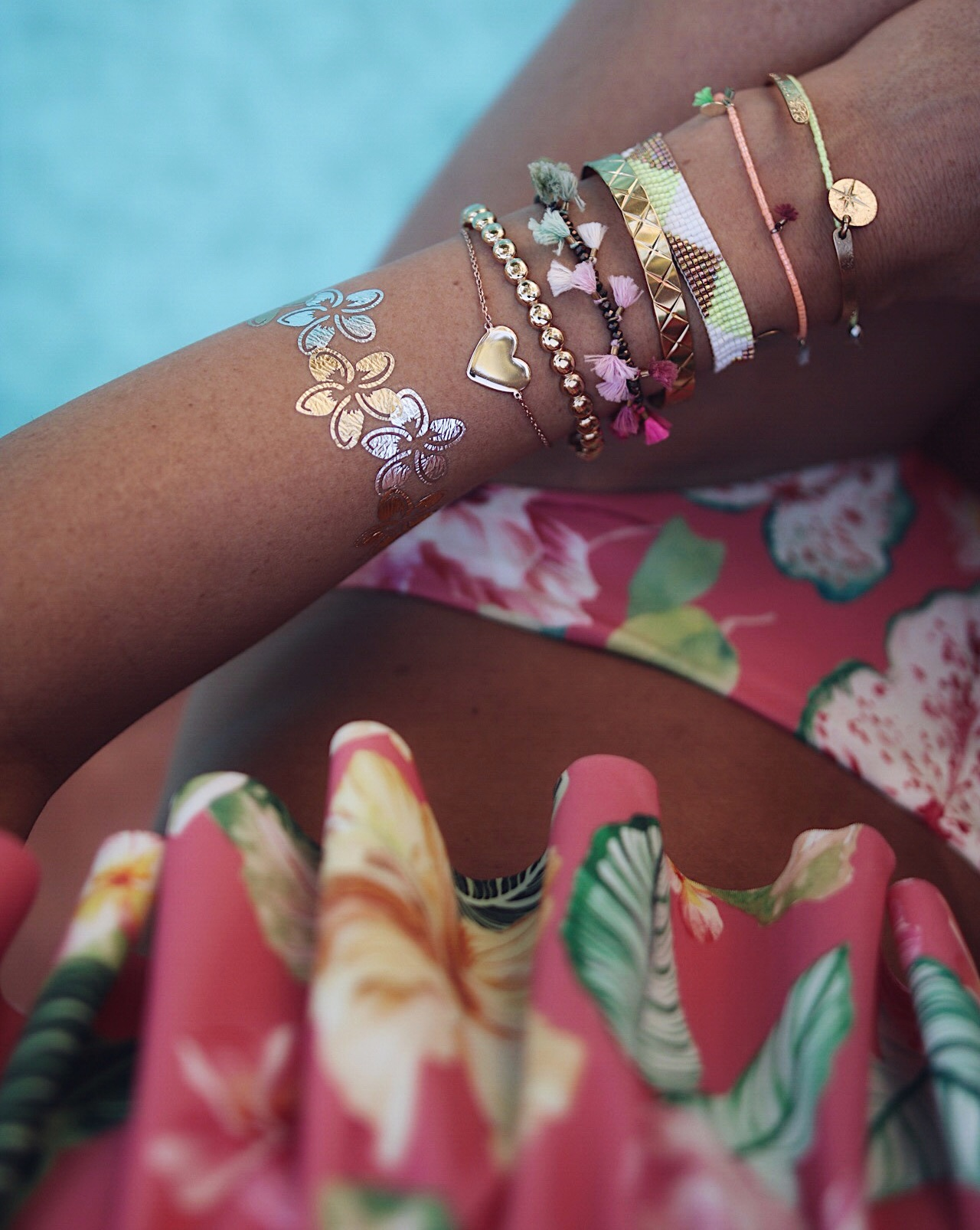 arm candy, bracelet stacking, bikini addict, tropical bikini, handmade bracelets, colorful bracelets