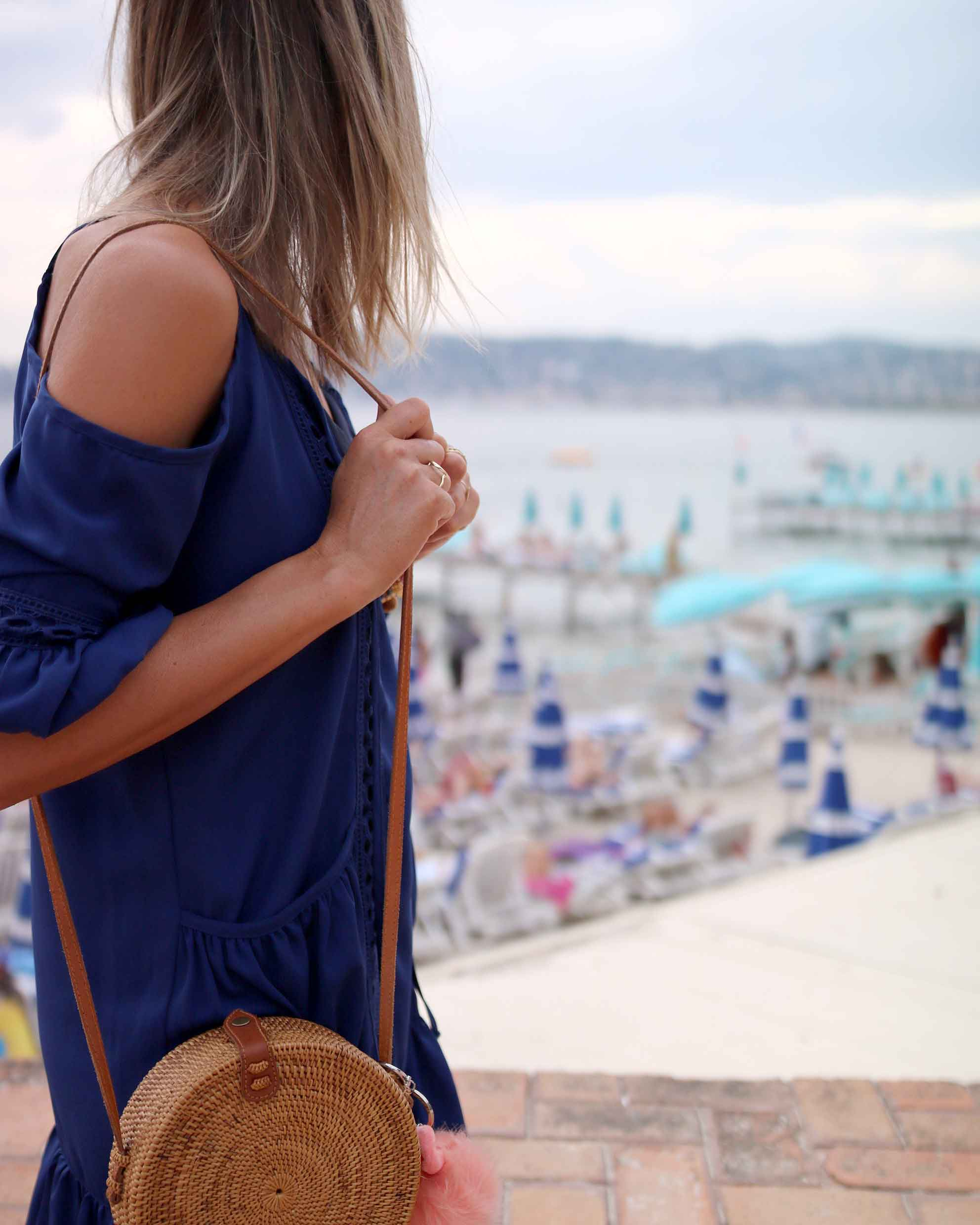 necklaces layering, gold necklaces, blue summer dress with fur converse, bali bag, round bag, sequins military jacket. summer look, summer dress