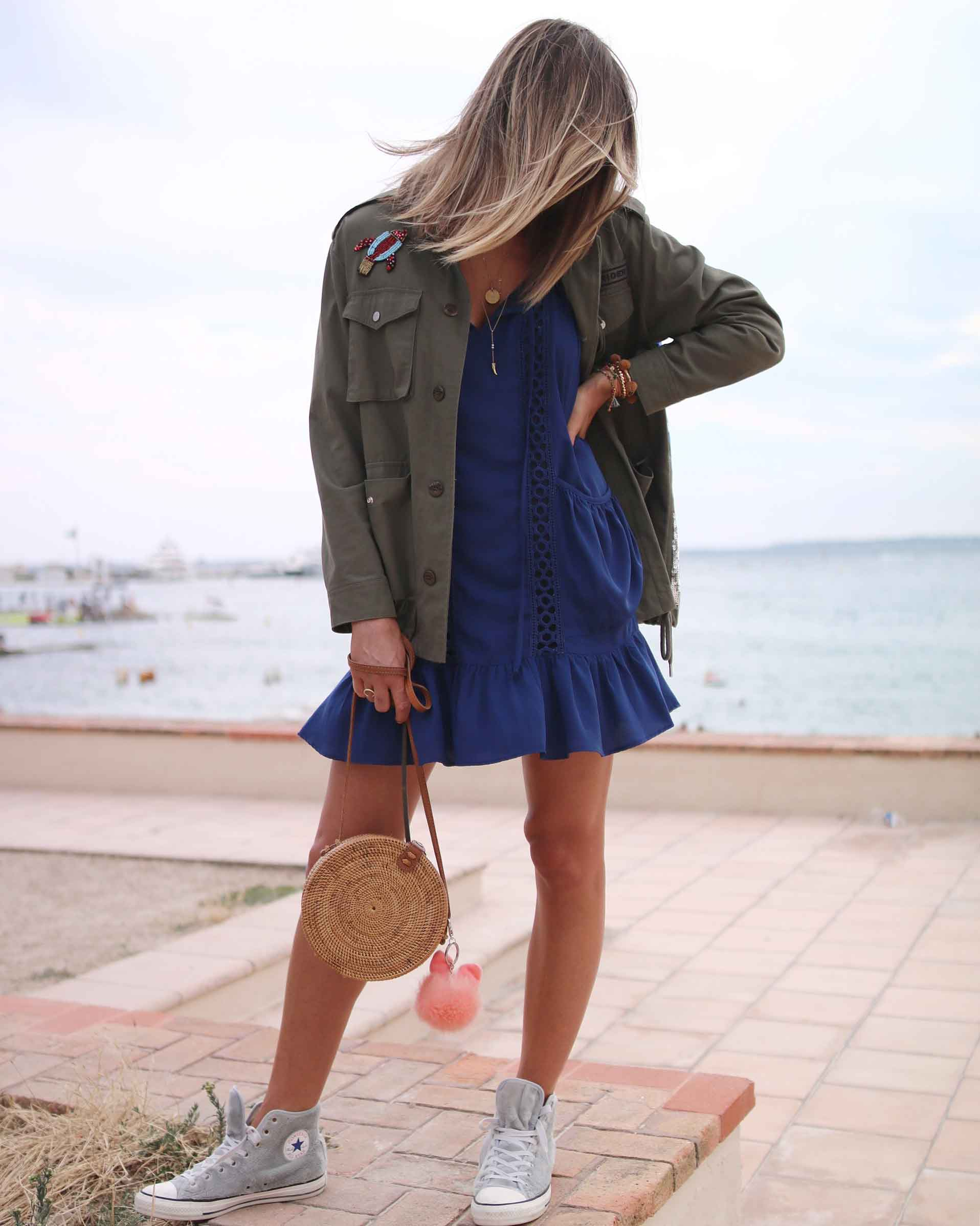 blue summer dress with fur converse, bali bag, round bag, sequins military jacket. summer look, summer dress