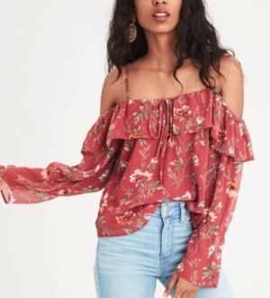 AE CHIFFON COLD SHOULDER TOP, RUST AMERICAN EAGLE