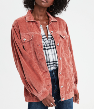AE CORDUROY TRUCKER JACKET, RUST american eagle