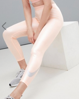 NIKE PRO – LEGGINGS COURT DE COURSE MÉTALLISÉ – ROSE