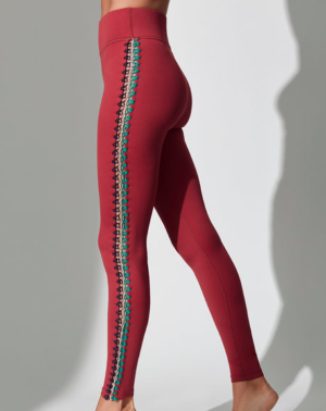 CROCHET SEAMED LEGGINGS IN RED DAHLIA