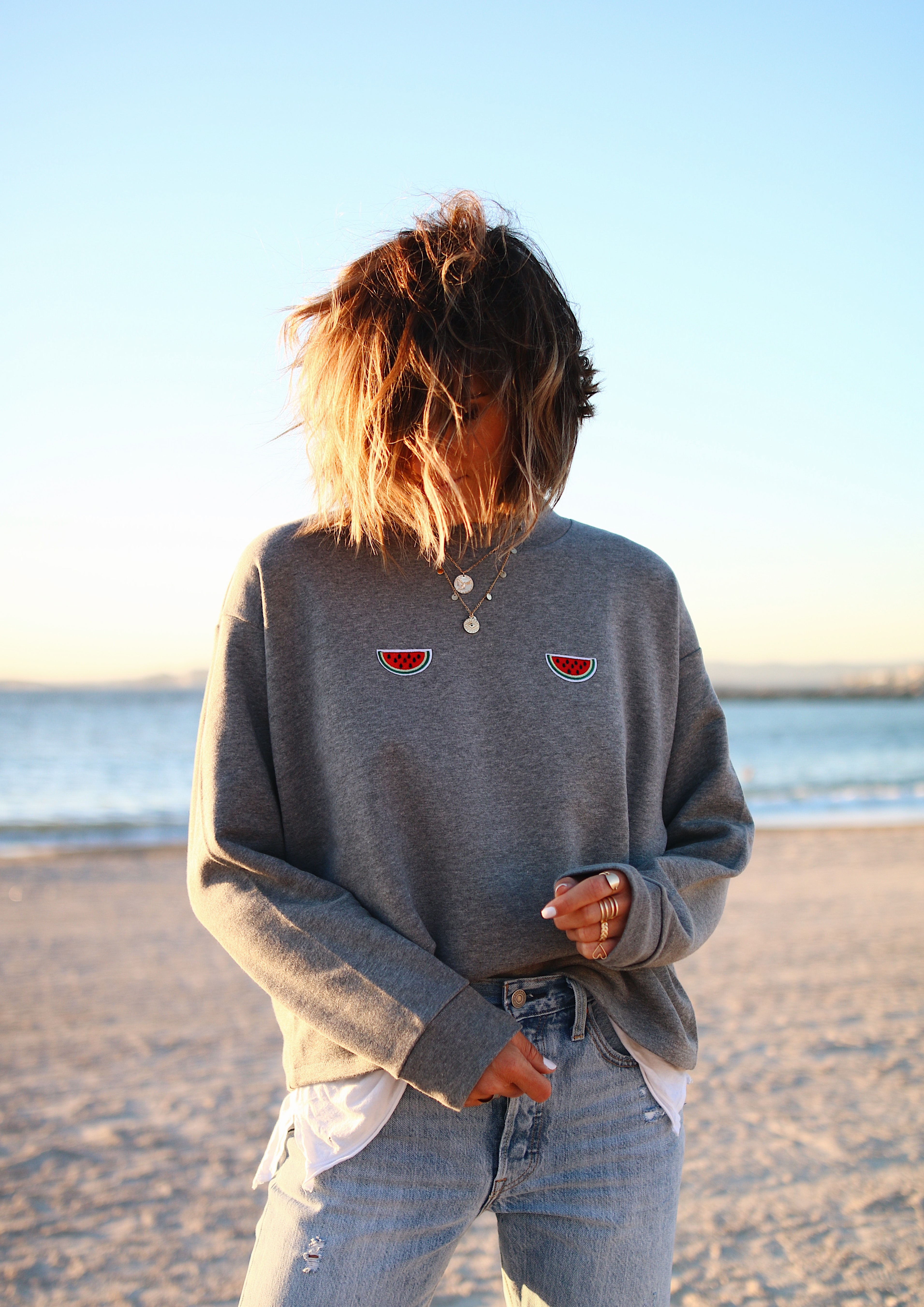 Sweat pasteque, watermelon sweater, graphic sweater, fun sweater, denim lover