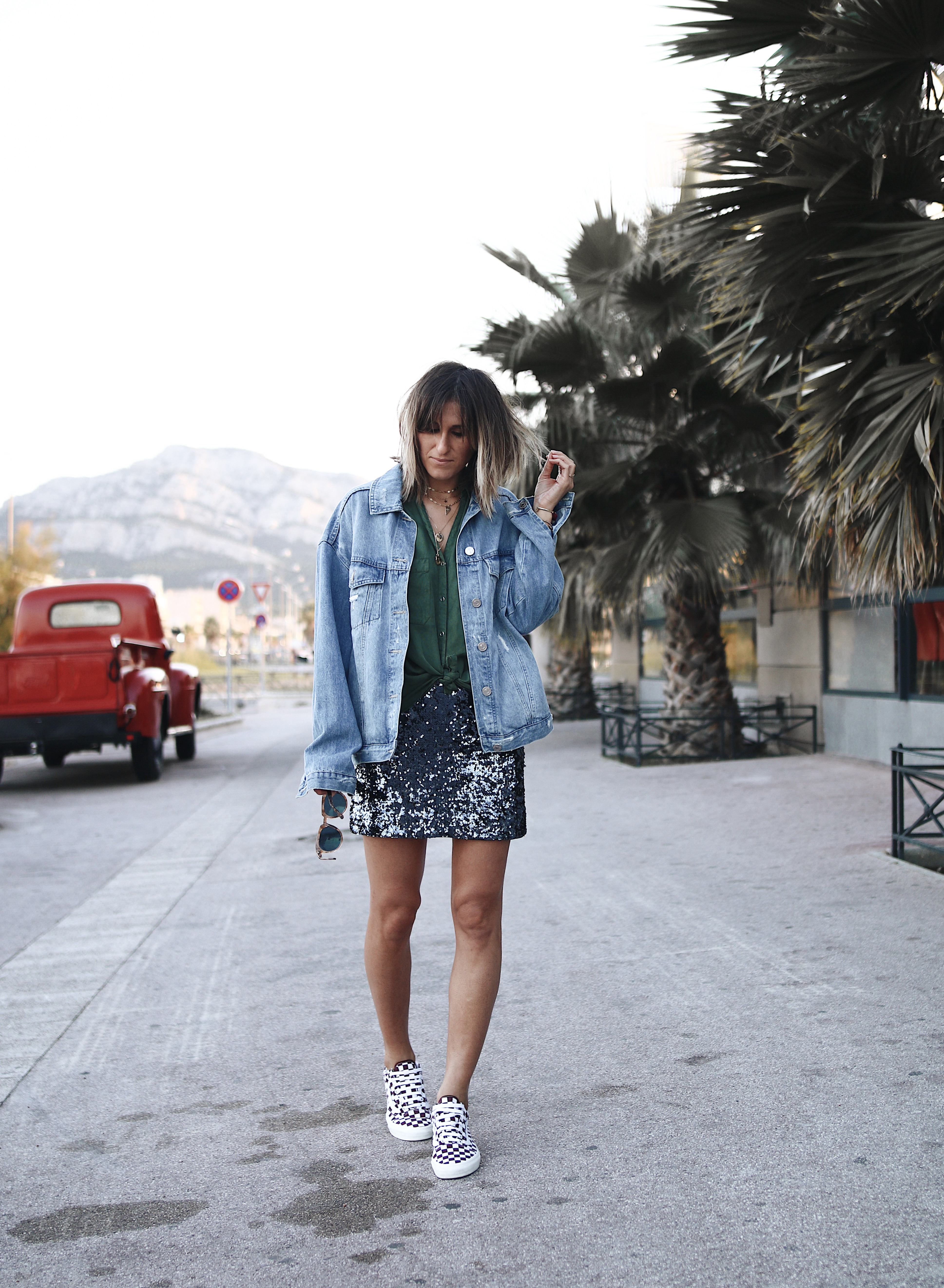 HOW TO STYLE SEQUIN SKIRT WITH DENIM JACKET AND VANS SNEAKERS