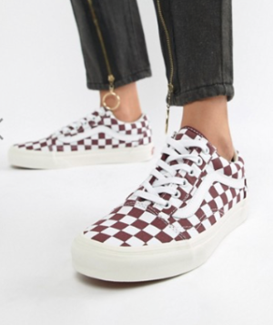 VANS – OLD SKOOL – BASKETS MOTIF DAMIER – BORDEAUX