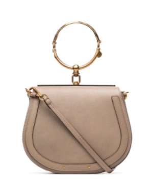 CHLOÉ GREY NILE LEATHER SHOULDER BAG – NUDE & NEUTRALS