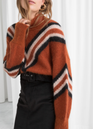 MOCK NECK VARSITY STRIPE SWEATER & other stories