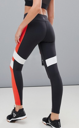 REEBOK TRAINING – EXCLUSIVITÉ ASOS – LEGGINGS COLOR BLOCK – NOIR ET ROUGE