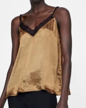 caraco style lingerie dore avec broderie noire