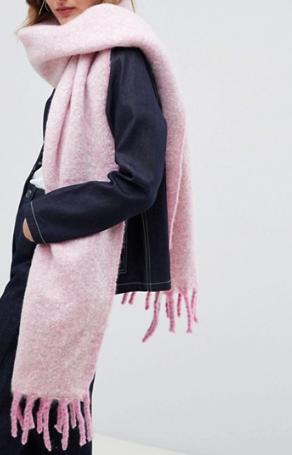ASOS DESIGN – Écharpe longue bicolore et duveteuse à franges