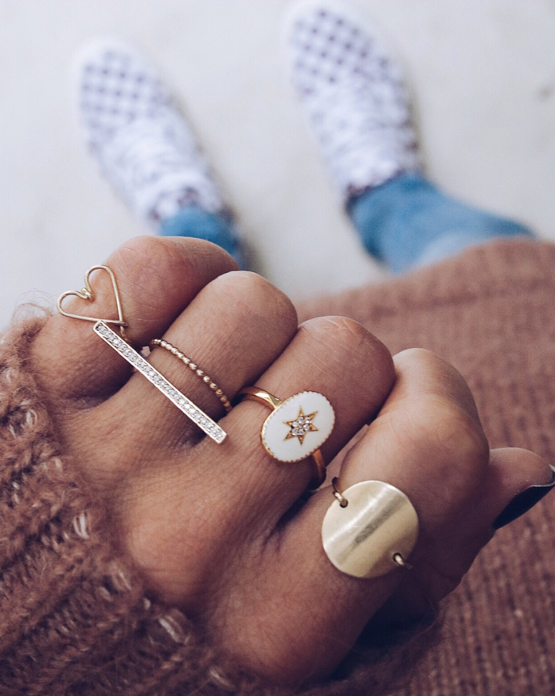 gold rings set, rings layering, jewelry addict, bijoux lover