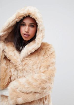 ASOS DESIGN – Manteau en fausse fourrure duveteux à capuche